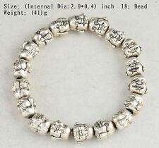 TIBET SILVER PLATED BUDDHA HANDWORK OLD FIRE BUDDHISM 18 BEADS PRAYER BRACELET