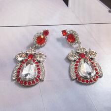 NEW : Urban Anthropologie Kalian Red Gemstone Rhinestone Silver Earrings
