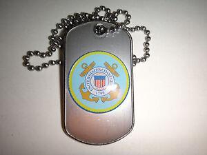 États-Unis Coast Guard Surélevées Insignes Acier Inoxydable Chien Balise + Balle