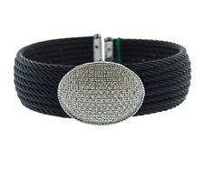 Charriol 18K  Gold Diamond Celtic Noir Steel Cable Cuff Bracelet $6550