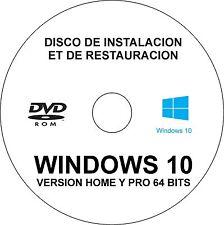 2 DVD Windows 10 Home y Pro 32/64 bits en español (Restauración, instalación).