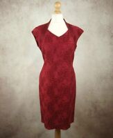 Jacques Vert Red Floral Embroidered Dress Size UK 16 Lined Wedding MOTB Evening
