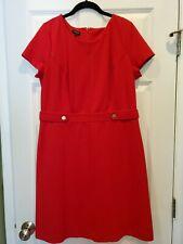 TALBOTS Red Sheath Dress Short Sleeve Gold Buttons Sz 12 EUC