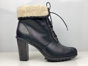 Clarks Keswick Film Womens Black Leather Shearling Lining Ankle Boot UK Size 8