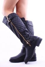 Women-Knee-High-Lace-Up / Quilted- Military-Combat-Boots-Riding-Style-Zipper