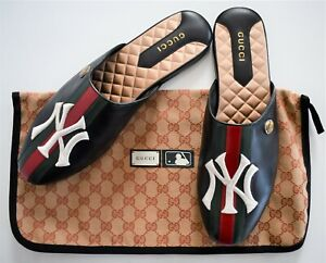 🆕️ Authentic GUCCI WEB Stripe NY YANKEES™ Patch LEATHER SLIPPER Mules 10 US10.5