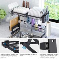 Kitchen Dish Drying Rack Over Sink Stainless Steel Drainer Shelf Utensils Tray