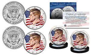 2018 JFK Kennedy Half Dollar 2-Coin Set Colorized WAVING FLAG - Both P & D Mint