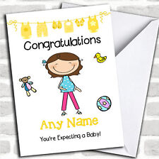 Single Brunette Mum To Be Expecting A Baby Pregnancy Customised Card