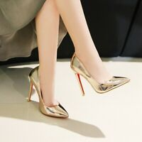 Woems Pointy Toe Slip On Stiletto Heel Patent Leather Nightclub Stiletto Shoes