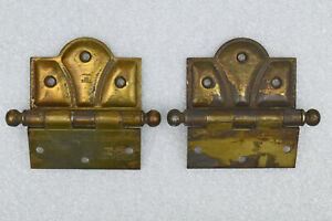 Pair of VTG Stanley Heavy Duty Brass Plated Iron Scalloped Door Hinges ART DECO