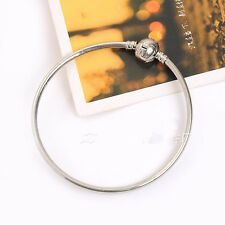 New Plain Smooth Silver Cuff Bangle Wristband Bracelet Fit European Charms Beads