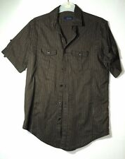 BROWN WHITE STRIPED GENTS CASUAL SHIRT SIZE S ZARA MAN