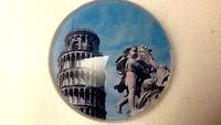 "Souvenir Fridge Magnet Pisa - Leaning Tower in 2"" Glass Button - Brand New"