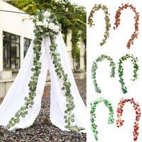2M Artificial Rattan Garland Eucalyptus Leaves Vivid Center Wedding Home Decor