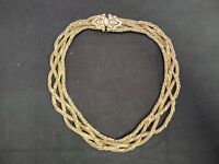 VINTAGE SIGNED HOBE GOLD TONE METAL BRAIDED MESH MULTI STRAND NECKLACE