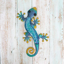 Metal & Glass Gecko Wall Decor hanging sculpture for patio, room