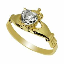 Ladies 10K Yellow Gold Solid Claddagh Ring  CZ Center Clear Heart size 4-10