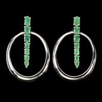 Unheated Oval Grren Emerald 5x3mm White Gold Plate 925 Sterling Silver Earrings