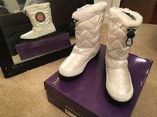 Madden Girl NEW womens ladies white faux fur $69.99 puffer shoes 8.5 boots b93