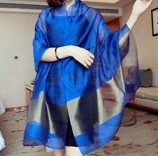 New Fashion Women's Blue Real 100% Silk Solid Long Scarf Shawl Wrap Scarves