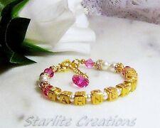 Swarovski pearl crystal Vermeil Gold -GP Personalised Name Bracelet Custom Made