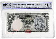 1939 Uruguay Quinientos 500 Pesos Banknote Specimen TDLR P40a Choice Unc 64