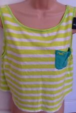 BNWT HOLLISTER L 12 14 lime green white stripe boxy oversize crop vest beach top