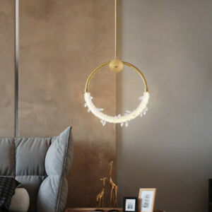 Modern Brass Copper Crystal Pendant Light Home Living Room Bedroom Chandelier