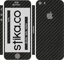 NERO FIBRA DI CARBONIO FULL BODY SKIN ADESIVO KIT per Apple iPhone, 5 5S, SE