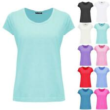 Womens Ladies Casual Lace Trim Cap Sleeve Plain Basic Stretchy Jersey T Shirt