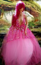 SWARA Fuchsia Pink Sequin Tulle Boho Garden Nymph Bridal Wedding Ballgown