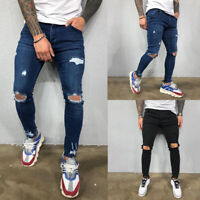 Men's Slim Ripped High Stretch Jeans Skinny Straight Denim Pants Trousers Casual