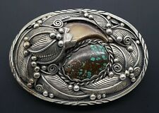 Native American Navajo Sterling Silver Turquoise & Claw Belt Buckle