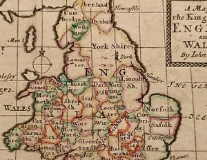 1690 JOHN SELLER MAP OF THE KINGDOM OF ENGLAND AND WALES HAND COLOUR COUNTIES