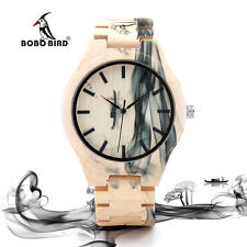 Maple Wood Watch Hand Craft Unisex BOBO Bird O17 Japan Quartz Ink Painting Watch