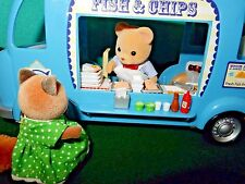 Calico Critters, Sylvanian Families RETIRED FISH CHIPS VAN SET ONLY 1 figure inc