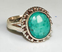 Sterling Silver Traditional Asian Vintage Style Turquoise Stone Ring Size N Gift