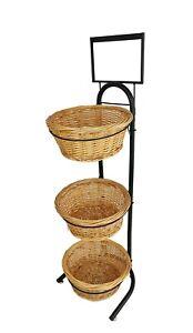 Wicker Basket Metal Rack Produce Floor Stand Bulk Food Display Sign Holder