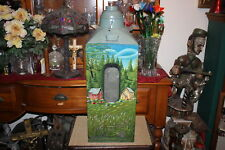 Large Antique Flour Sifter Hand Painted Country Scene Barn Grass Church EWALD