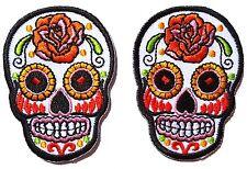 Set di due Piccoli stemmi patch teschio Messicana Calavera tattoo - Bianco