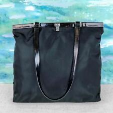 $895 Prada Black Tessuto Nylon Leather Hinge Frame Top Shoulder Bag Women's SALE