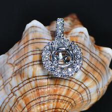 7.0mm Round Cut Solid 18kt 750 White Gold Semi Mount Natural Diamond Pendant