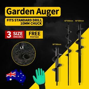 Power Garden Spiral Plant Auger Earth Planter Drill Bit Post Hole Digger Tool AU