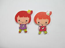 Buttons- 2 Girls Wooden Buttons Approx  40mm Red or Black Hair or 1 of ea random