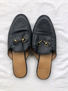 Gucci Black Leather Princetown Mule Loafers Size 37