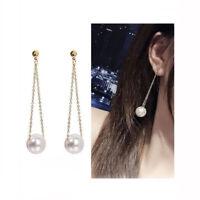 1 Pair Women Fashion Earrings Long Pearl Drop Dangle Ear Hook Jewelry Gift
