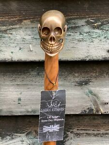 Designer Brass Skull Head Handle Antique Style Foldable Wooden Walking Stick