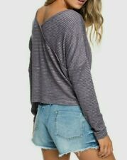 Roxy Brand Your Time Knit Striped Faux-Crossover Long Sleeve Top Red/Gray S, L