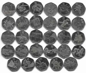 2012 London Olympic Games 50p 2011 Coin Set (29) Very Good Used Condition